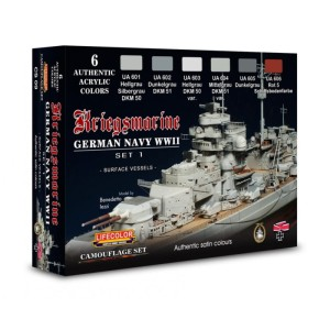 LIFECOLOR CS09 German WWII Kriegsmarine Set 1 (This set contains 6 acrylic colors)
