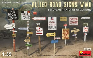MINIART 35608 1:35 ALLIED ROAD SIGNS WWII. EUROPEAN THEATRE OF OPERATIONS