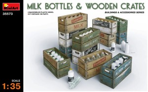 MINIART 35573 1:35 MILK BOTTLES & WOODEN CRATES
