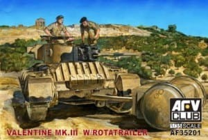 AFV CLUB 35201 1:35 Valentine Mk. III with Rotatrailer
